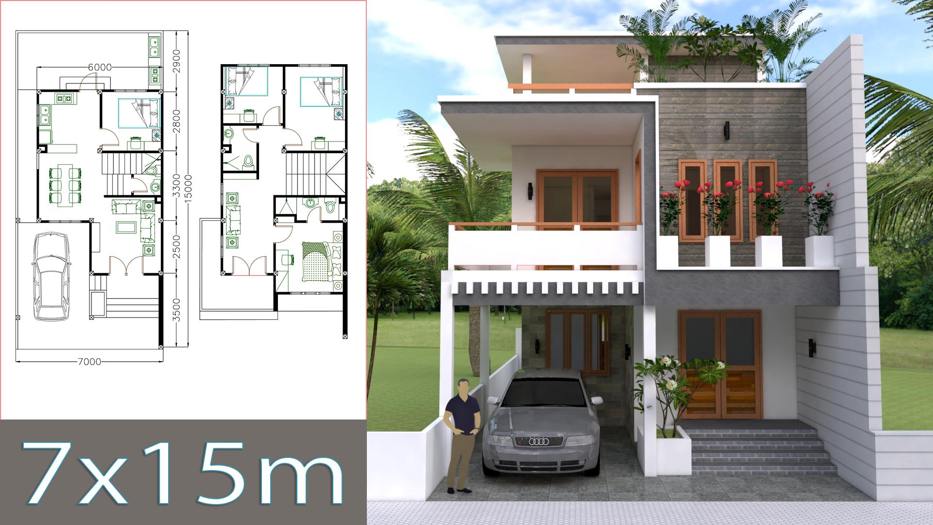 Home Design Plan 7x15m with 4 Bedrooms - Samphoas.Com