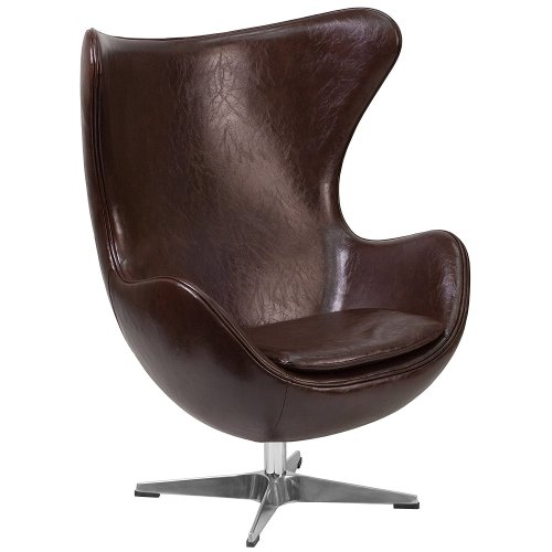 Espresso Brown Leather Egg Chair - & Retro Lounge Chairs - Egg Chair
