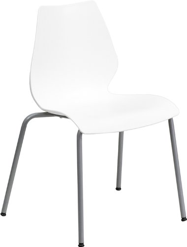 HERCULES Series 770 lb. Capacity White Stack Chair - Plastic Chairs