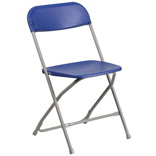 HERCULES Series 800 lb. Capacity Premium Blue Plastic Folding Chair - Plastic Chairs