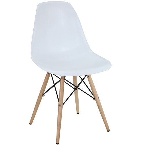 Modway Plastic Side Chair in White with Wooden Base - Plastic Chair