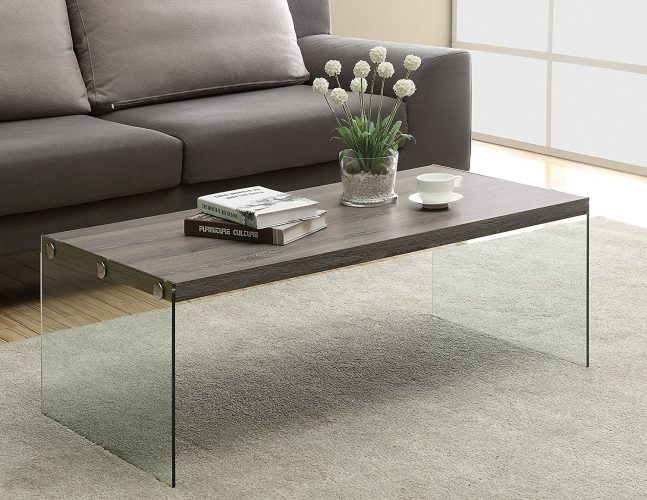 Monarch Reclaimed-Look/Tempered Glass Cocktail Table, Dark Taupe