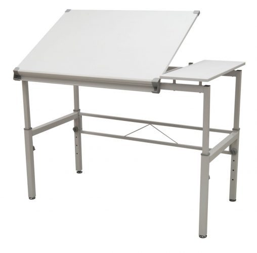 "STUDIO DESIGNS Graphix II Workstation, 53.75""W x 31.25""D x 27"" x 38.75""H White/Gray 10210 - Drawing Table"