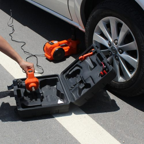 12V DC 1 Ton Electric Hydraulic Floor Jack Set with Impact Wrench and Pump For Car Use (6.1-17.1 inch, Black) - Electric Car Jacks