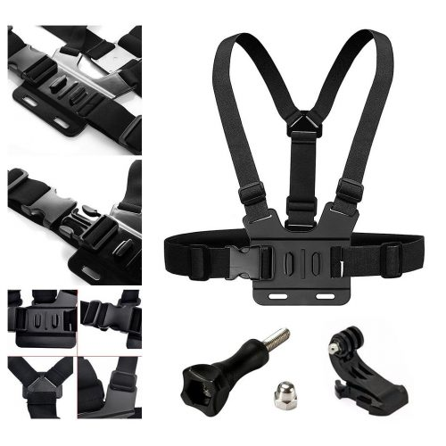 AxPower Adjustable Go Pro Chest Strap Mount Elastic Action Camera Body Belt Harness with J Hook For GoPro HD Hero 5 4 3+ 3 - GoPro Chest Mounts