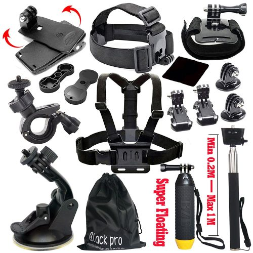 Black Pro Basic Common Outdoor Sports Kit for GoPro Hero 6 /GoPro Fusion/HERO 5/Session5/ 4 / 3+ / 3 / 2 / 1 SJ4000 /5000/ 6000 /AKASO/ APEMAN/ DBPOWER/ And Sony Sports DV and More - GoPro accessories Kit