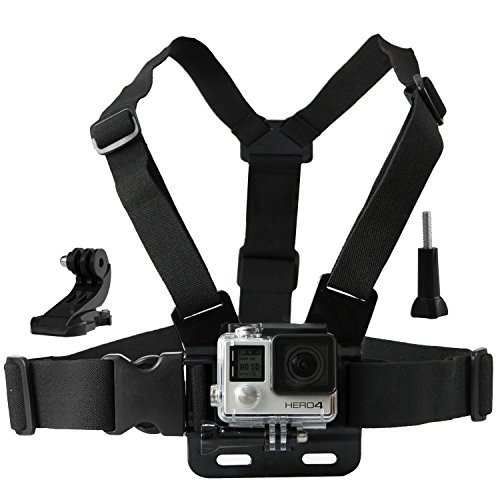 Chest Mount Harness for Gopro Hero 5, Black, Session, Hero 4, Session, Black, Silver, Hero+ LCD, 3+, 3, 2, 1 – Fully Adjustable Chest Strap - Also Includes J-Hook / Thumbscrew / Storage Bag - GoPro Chest Mounts