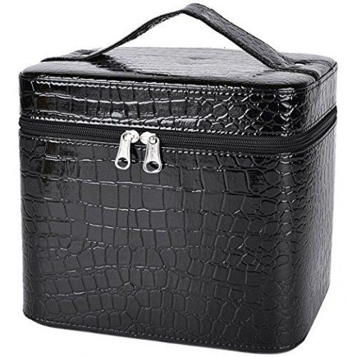 Coofit Beauty Box Crocodile Pattern Leather Makeup Case for Women Large - Makeup Train Cases
