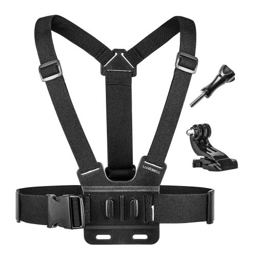Luxebell Chest Mount Harness Strap for Gopro Hero 5 4 3 3+ Session Black Silver and Sjcam with J-Hook - Fully Adjustable Strap Size - Perfect for Most Action Sports - GoPro Chest Mounts