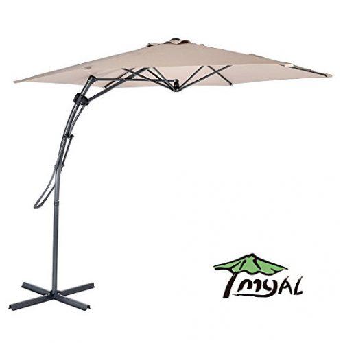MYAL 9ft Offset Patio Umbrella Outdoor Umbrella Tan - Offset Patio Umbrellas
