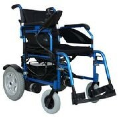Remedies Folding Electric Wheelchair with Footrest and Batteries, Blue/Black - Electric Wheelchairs