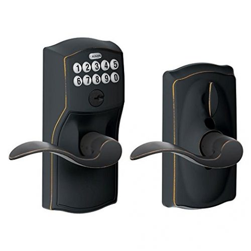 Schlage FE595 CAM 716 ACC Camelot Keypad Entry with Flex-Lock and Accent Levers, Aged Bronze - Keypad Door Locks