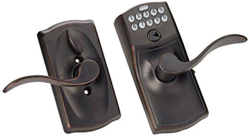 Schlage FE595VCAM716ACC Camelot Keypad Accent Lever Door Lock, Aged Bronz - Keypad Door Locks