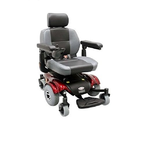 Upgraded Compact Mid - Wheel Power Chair Color: Burgundy - Electric Wheelchairs