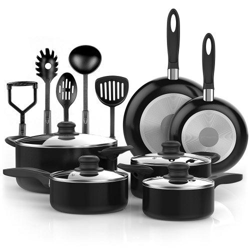 Vremi 15 Piece Nonstick Cookware Set - pots pans sets