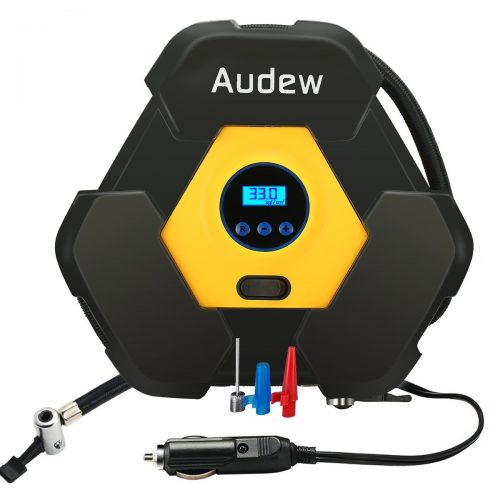 AUDEW Portable Air Compressor Pump, Auto Digital Tire Inflator, 12V 150 PSI Tire Pump for Car, Truck, Bicycle, RV and Other Inflatables - tire inflator