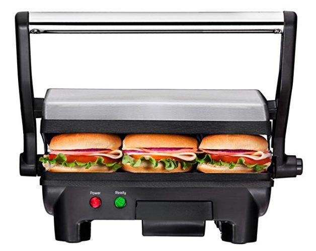 Chefman Panini Press Grill, and Gourmet Sandwich Maker Non-Stick Coated Plates RJ02-180 - Panini Press