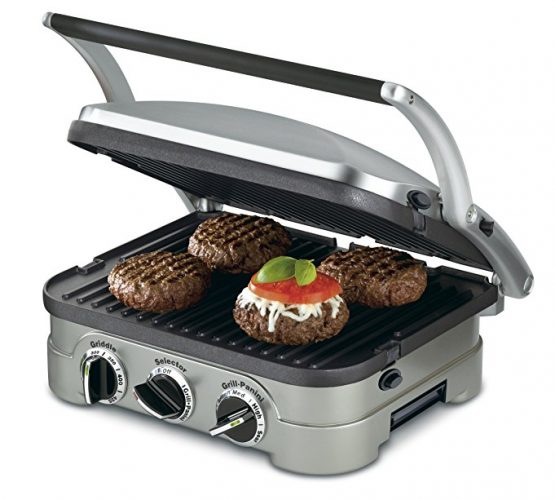 Cuisinart GR-4N 5-in-1 Griddle, Silver, Black Dials - Panini Press