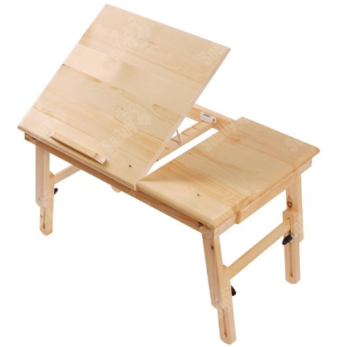 Haotian Wood Foldable Notebook Laptop Table, Adjustable Height & Angle Folding Food Bed Lap Top Tray Table Desk FBT02-SCH, Black - Folding Camping Table