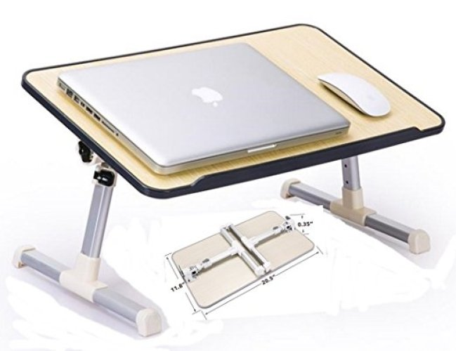 JH-BestCrafts Adjustable Laptop Bed Tray Table, Foldable, Portable Breakfast Table, Reading Holder for Sofa Couch Floor, Ergonomic sitting / Stand up Notebook Table - Folding Camping Table