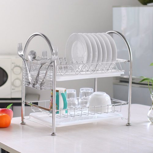 NEX dish racks stainless steel two-tier draining rack rustless storage rack with chopstick holder (Doo3) - Dish Rack