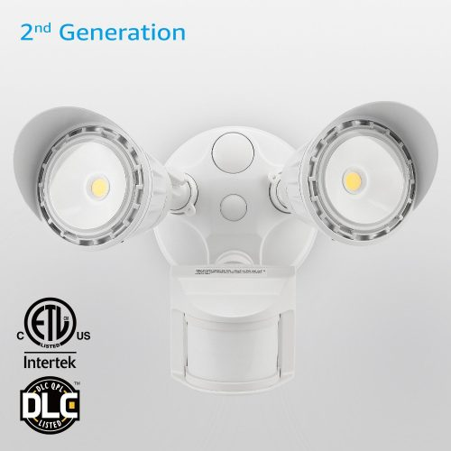 Outdoor LED Security Light, Motion Activated Sensor 240° +90° floodlight, Dusk to Dawn, 3041 lumens, UL Certified, Waterproof, 35W 300W Incandescent Equiv., Patent Par Lens, Entryways, White, Aluminium - Motion Sensor Lights