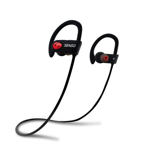 SENSO Bluetooth Headphones, Best Wireless Sports Earphones w/ Mic IPX7 Waterproof HD Stereo Sweatproof Earbuds - Wireless Earbuds Under 50