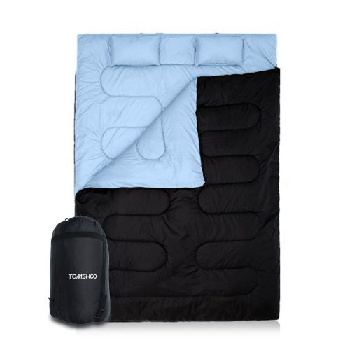 TOMSHOO Double Sleeping Bag 2 Person with 2 Pillows for Outdoor Camping Hiking - Double Sleeping Bags