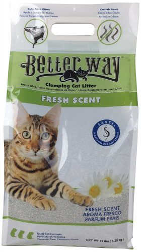Ultra Pet Better Way Clumping Cat Litter with Bentonite Clay and Sanel Cat Attractant, 14-Pound bag - Clumping Cat Litter
