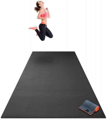 "Premium Extra Large Exercise Mat - 10' x 4' x 1/4"" Ultra Durable, Non-Slip, Workout Mats for Home Gym Flooring - Plyo, HIIT, Cardio Mat - Use With or Without Shoes (120"" Long x 48"" Wide x 6mm Thick) - Gym and exercise equipment floor mat"