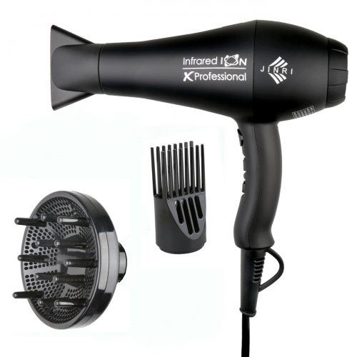 1875w Professional Salon Hair Dryer, Negative Ionic Hair Blow Dryer, AC Motor Infrared Heat Low Noise Hair Dryer, with Concentrator & Diffuser & Comb, ETL Certified, Black - Hair Dryer for Curly