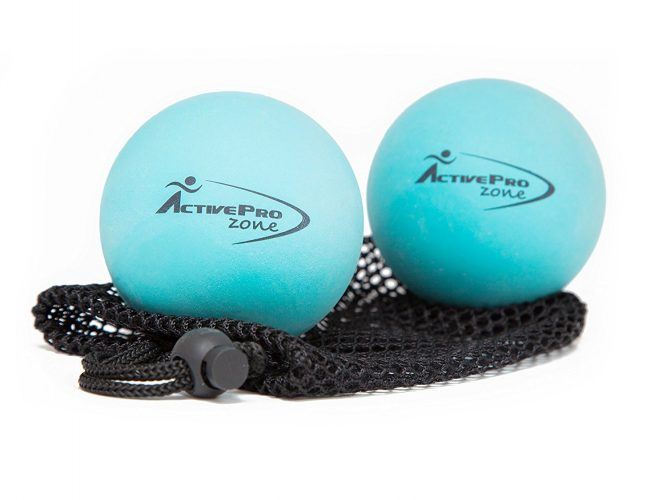 ActiveProZone Therapy Massage Ball - Instant Muscle PAIN RELIEF. Proven EFFECTIVE SET - 2 Extra Firm Balls W/ Mesh Bag - Massage Balls