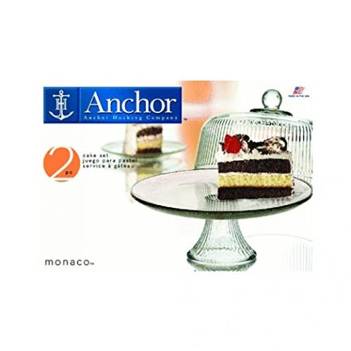 Anchor Hocking Monaco Cake Set with Ribbed Dome - cake stands with dome