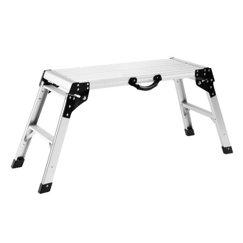 Finether Aluminum Work Platform Drywall Step Up Folding Work Bench Portable Stool Ladder with Non-slip Mat and Side Handle - Portable Folding Workbenches