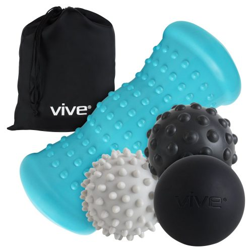Massage Ball Set by Vive - Hot Cold Therapy Kit for Plantar Fasciitis Heel Pain, Sore Muscles, Trigger Point, Myofascial Release, and Heel Spur - Heat Spike Ball - Massage Balls