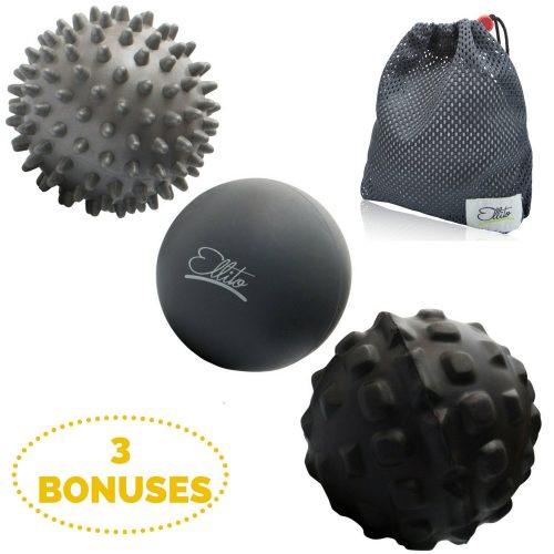 Therapeutic Massage Ball Set: Eliminate Pain! Rubber, Spikes & Foam Roller Massager Balls. Releases Muscle Aches: Thigh, Back, Knee - Massage Balls