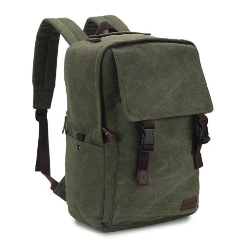 Vintage Canvas Laptop Backpack 17 inches, Ravuo Water Resistant Hiking Daypacks Unisex Casual Rucksack Large Capacity Daypack for School Travel Outdoor Army Green - 17-inch laptop backpacks