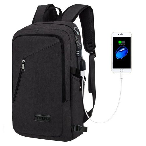 York Slim Laptop Backpack, Business Computer Bag with Headphone Port, Anti Theft Travel Backpacks with USB Charging Hole for College, Fits 15 15.6 inches Laptop / Notebook, Black - 15 inch laptop backpack