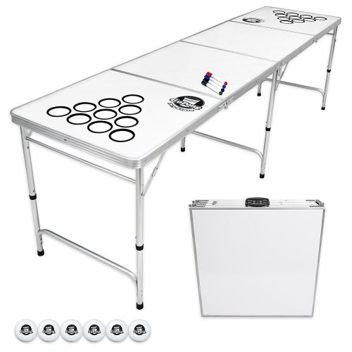GoPong 8 Foot Portable Beer Pong / Tailgate Tables (Black, Football, American Flag, or Custom Dry Erase) - Beer Pong Tables