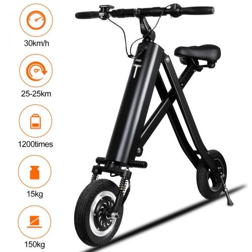 BuySevenSide Urban E-Bike and Folding Electric Scooter the Newest Foldable Bicycle Model with 15-18 MPH Max Speed 25-30 Miles Range and Upgraded Brake System - Electric Scooters with Seat