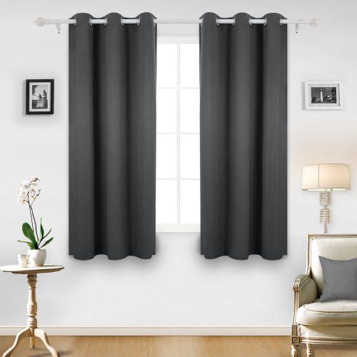 Deconovo Room Darkening Thermal Insulated Grommet Window Curtain For Living Room, Dark Grey- darkening curtain