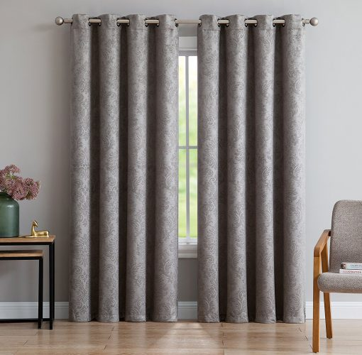"""Evelyn - Embossed Thermal Weaved Blackout Curtain With 8 Grommets - Room Darkening & Noise Reduction Fabric - Blocks up to 97% of Sunlight - Premium Draperies (1 panel 54""""W x 63""""L, Light Gray)- darkening curtain"""