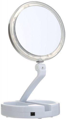Floxite 7504-12l 12x LED Lighted Folding Vanity and Travel Mirror - Ring Lighted Mirrors