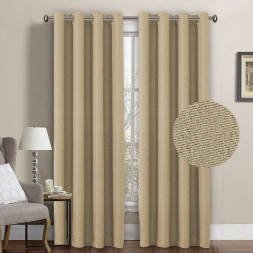 H.Versailtex Ultra Decent Room Darkening Thermal Insulated Textured Tiny Plaid Rich Linen Curtains for Bedroom/Living Room,8 Grommets per Panel,52 by 96 Inch-Beige (Set of 1)- darkening curtain