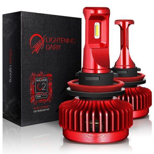LIGHTENING DARK 10000 Lumens Ultra-Bright H11 (H8, H9) LED Headlight Bulbs, Philips TX1860 Chip Conversion Kit,6000K Cool White - Automotive Headlight