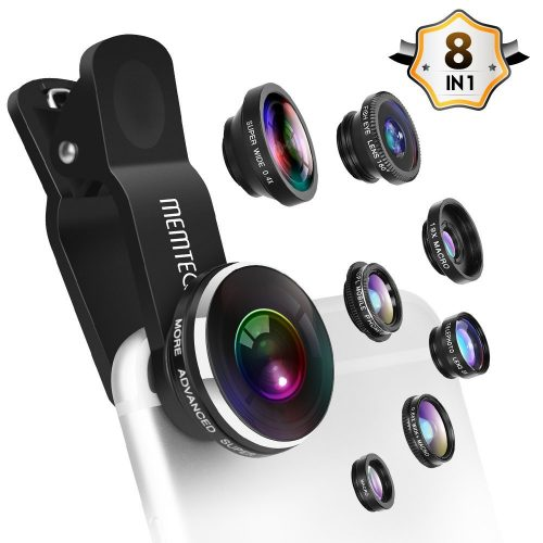 MEMTEQ LENS Phone Lens - Cell Phone Camera Lens Kit Universal 8 in 1 Clip-on Smartphone Lens PRO 0.4X Wide Angle Lens 0.65X Macro Lens 180° Fisheye Lens CPL Lens Telephoto Lens for iPhone Samsung Android Phones - Smartphones Fisheye Lens