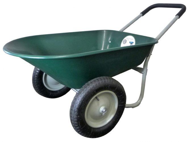 Marathon Dual- Wheel Residential Yard Rover Wheelbarrow and Yard Cart-Green - 2-WHEEL WHEELBARROW
