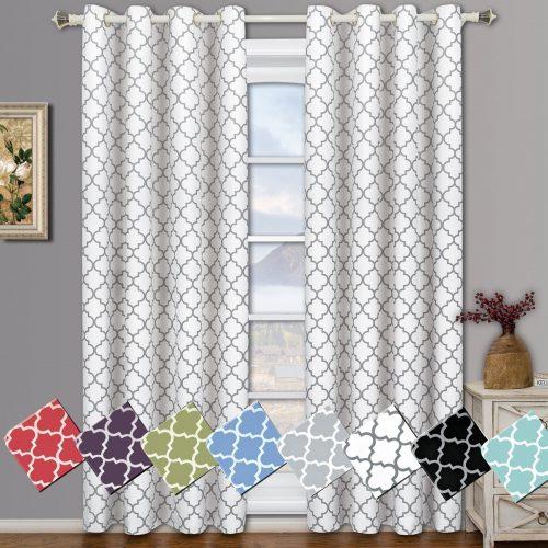 Meridian White Grommet Room Darkening Window Curtain Panels, Pair / Set of 2 Panels, 52x84 inches Each, by Royal Hotel- darkening curtain