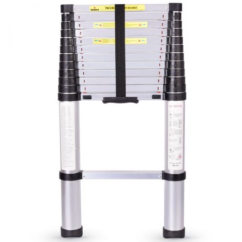 One Button Contraction Telescoping Ladder, Pamapic Extension Ladder with Spring Loaded Locking Mechanism Non-slip Ribbing 330 Pound Capacity (12.5FT). - Telescoping Ladder