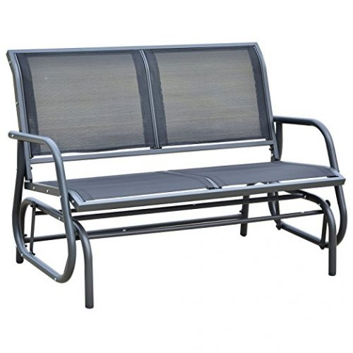 "Outsunny 48"" Outdoor Patio Swing Glider Bench Chair - Dark Gray - Patio Gliders"